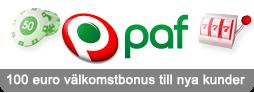 Få 100 euro extra när du gör din första insättning hos Paf Casino